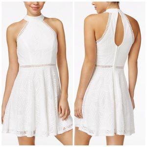 City Studio White Crochet Halter Dress Junior 5 13
